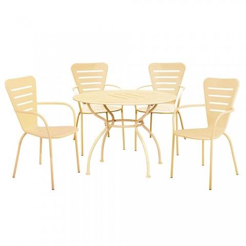 Set Ginevra Big Tavolo + 4 Sedie in Acciaio Verniciato Crema