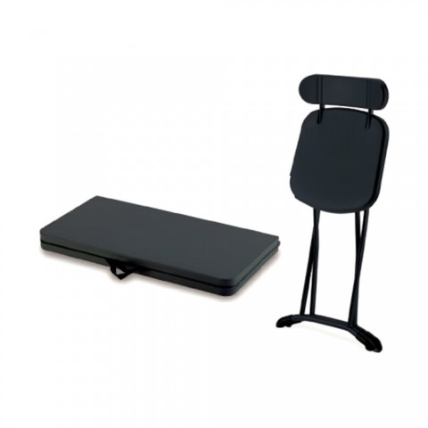 Set Horeca salvaspazio Tavolo + 4 sedie in acciaio pieghevole antracite