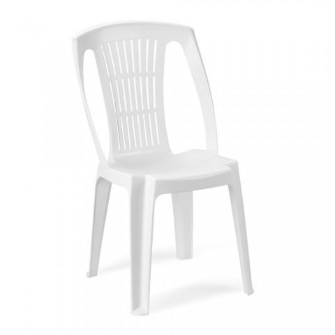 Sedia Stella bianca impilabile in resina senza braccioli