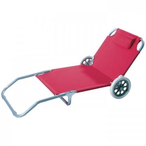 Spiaggina Trolley con ruote rossa o blu pieghevole