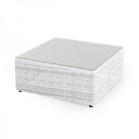 Tavolino in polyrattan Diletta bianco