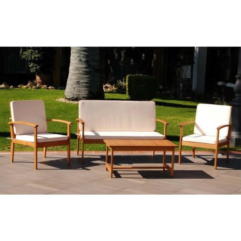 Salotto per esterno in legno completo divano poltrone e tavolino arredo giardino