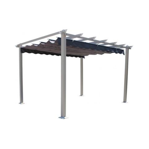 Gazebo Astoria 3x3m pali in alluminio copertura scorrevole Grigio