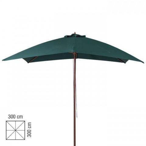 Ombrellone in legno 3x3m verde scuro