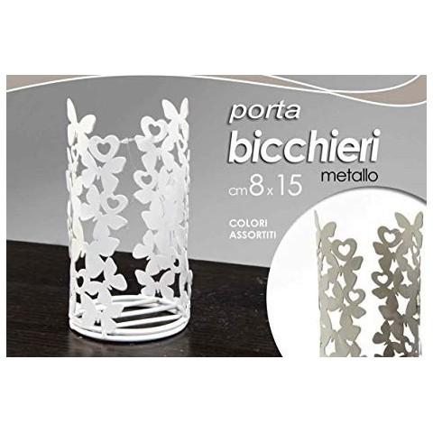 Porta bicchieri in metallo 8x15cm colori assortiti