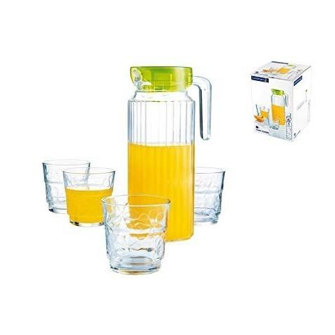 Set caraffa + 4 bicchieri colori assortiti