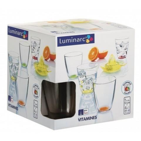 Set spremiagrumi + 4 bicchieri colori assortiti