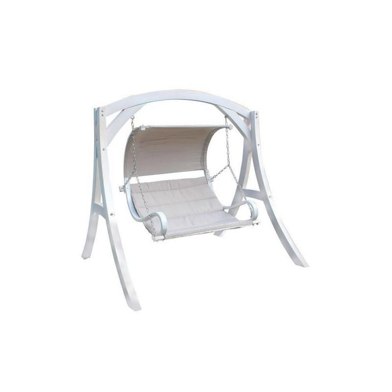 Dondolo 2 posti in legno colore bianco