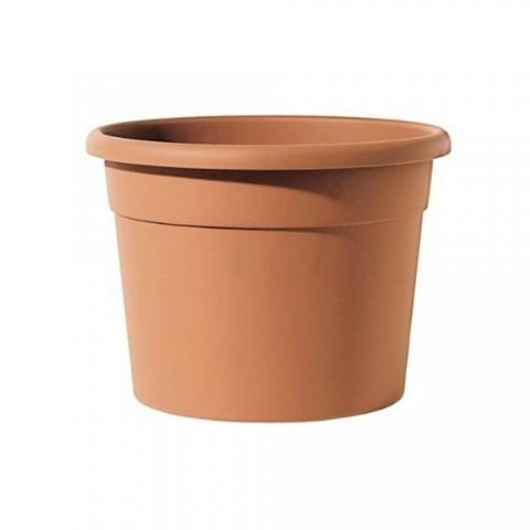 Vaso tondo in plastica 35x26h cm colore terracotta