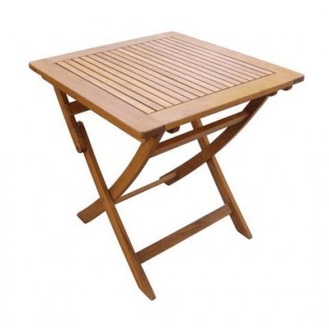 Tavolo quadrato pieghevole in legno di acacia 70x70x70cm
