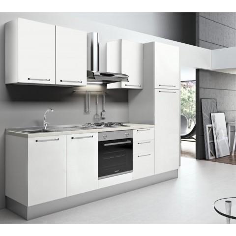 Cucina a parete Valentini colore bianco frassinato 300x60x216 cm