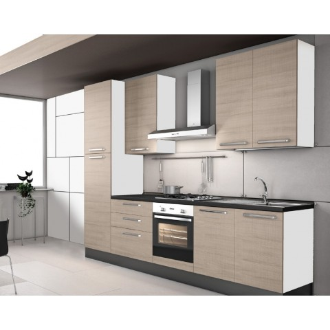 Cucina a parete Valentini colore olmo astoria 300x60x216 cm