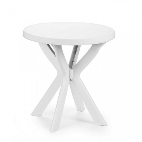 Tavolo rotondo Don con gambe collegate bianco