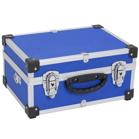 Valigia in alluminio con cinghia colore blu