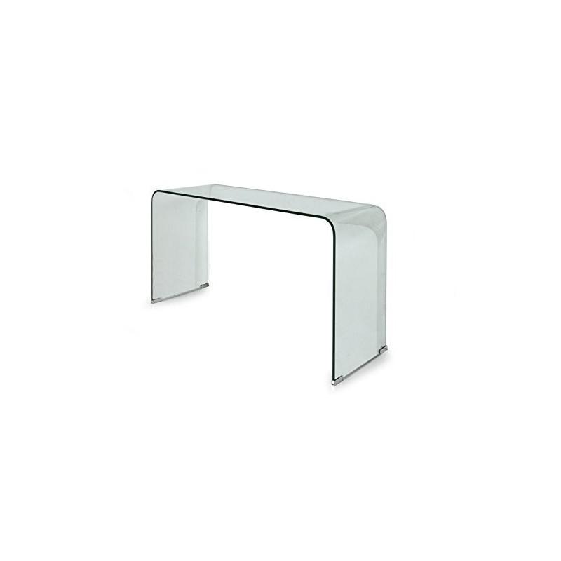 Tavolo consolle in vetro trasparente 125x40x70 cm
