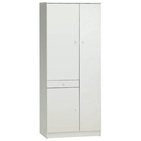 Armadio multiuso 3 ante e 1 cassetto colore bianco liscio