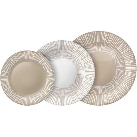 Servizio piatti Stria colore beige 18 pezzi