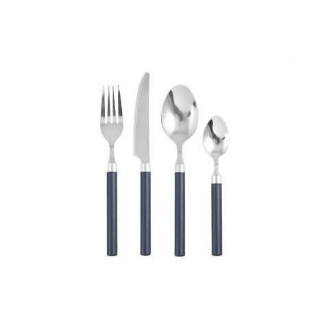 Servizio posate 24 pezzi in acciaio inox e manico colore blu