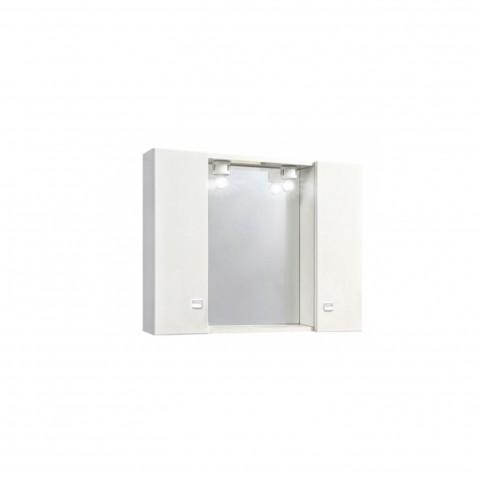 Specchiera bagno a 2 ante con luce colore bianco
