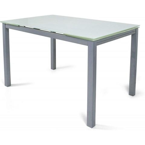 Tavolo rettangolare allungabile Fast Evolution in vetro bianco