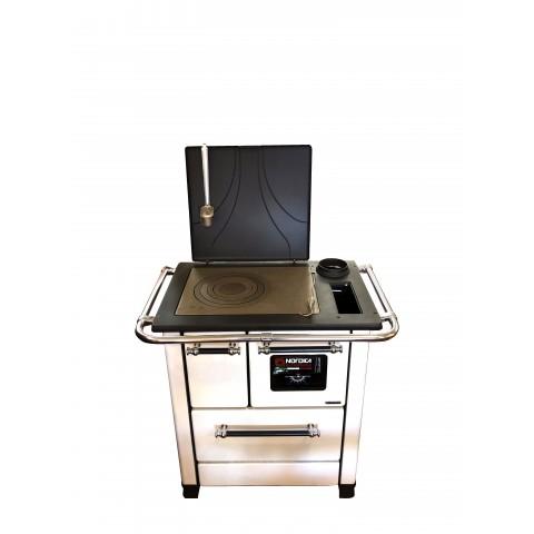 Cucina a legna 5 kW in acciaio porcellanato e ghisa