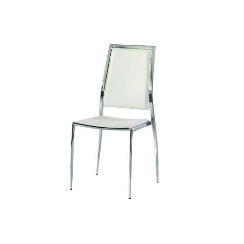 Sedia in ecopelle bianca con struttura in acciaio cromato