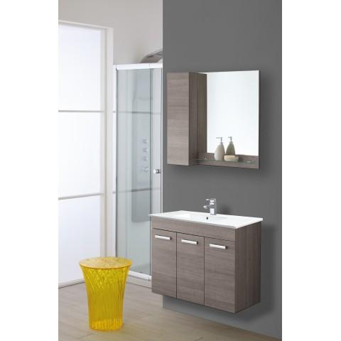 Composizione bagno sospesa con specchiera e lavabo colore rovere scuro