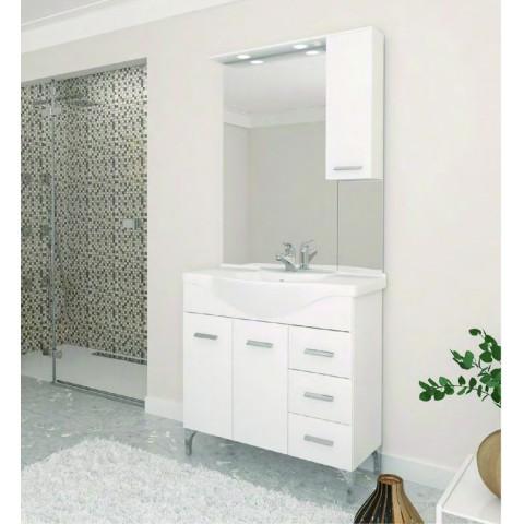 Composizione bagno con lavabo in ceramica e specchiera con luci a LED