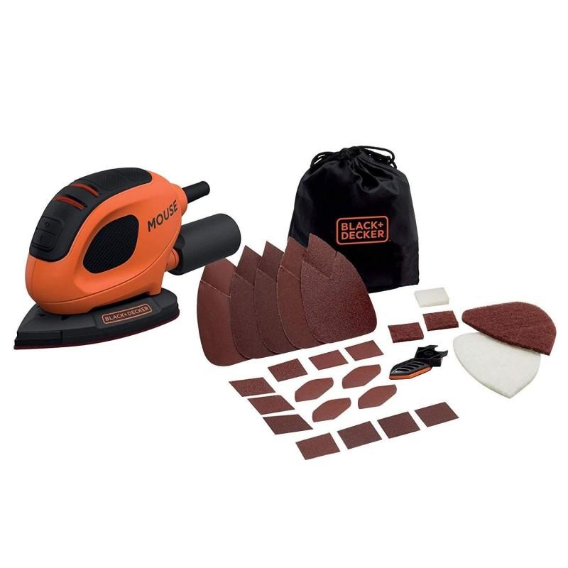 Levigatrice Mouse Multifunzione Black & Decker 55 W con 15 accessori e softbag