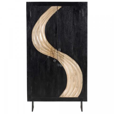 Mobile 2 ante + 4 ripiani in legno di mango color nero con decorazione dorata