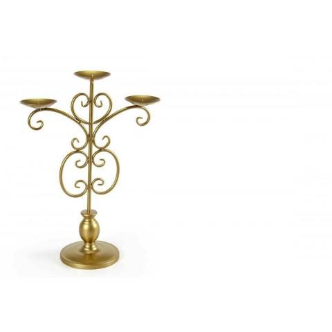 Candelabro a 3 fiamme in metallo dorato H51 cm