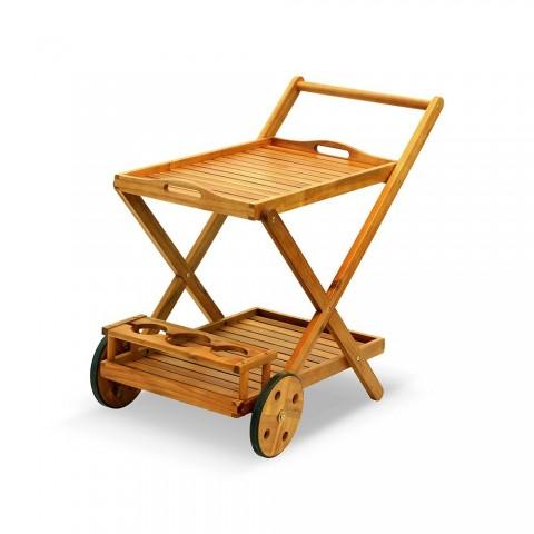Carrello portavivande in legno di acacia