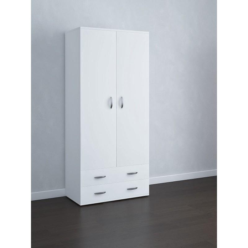 Armadio 2 ante e 2 cassetti 81x52x175 cm colore bianco