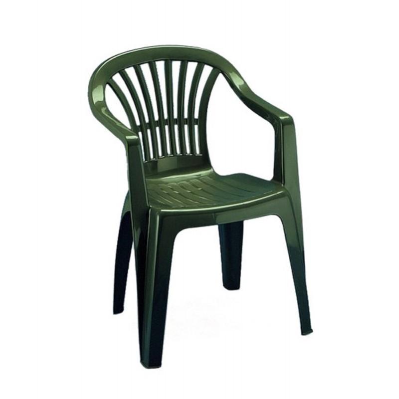 Sedia Altea verde impilabile con braccioli