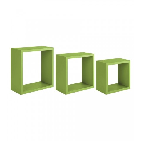 Set 3 mensole da parete a cubo colore verde