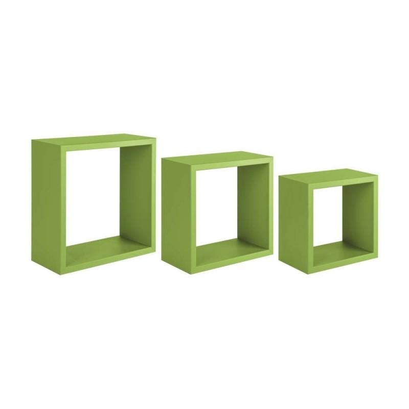 Mensole A Parete Regolabili In Altezza.Set 3 Mensole Da Parete A Cubo Colore Verde