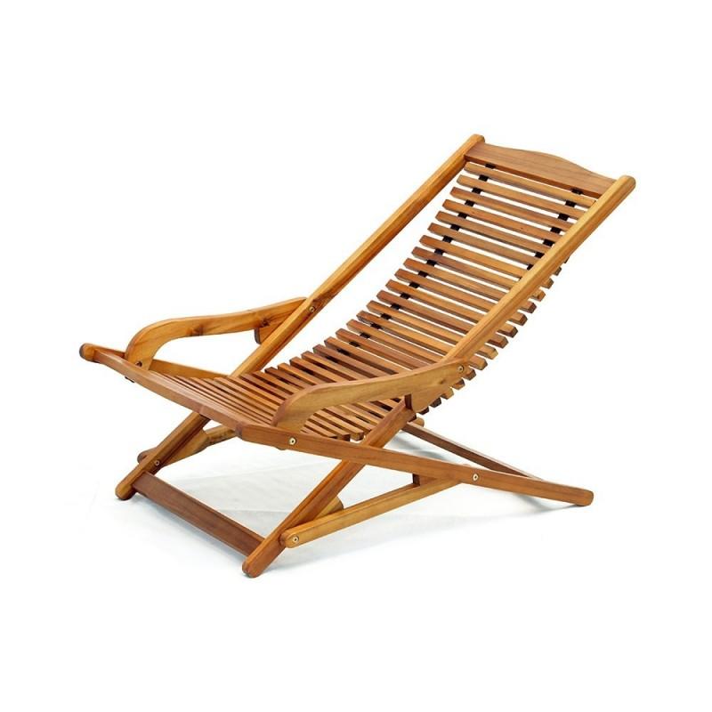 Sdraio pieghevole Vip Relax con braccioli in legno di acacia